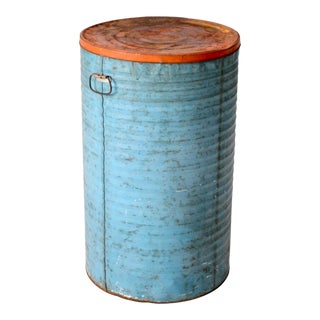 Vintage Industrial Metal Can With Lid For Sale