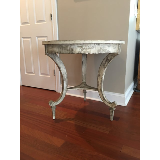 Brown David Latesta Custom Hand Finished White Rustic Table For Sale - Image 8 of 10