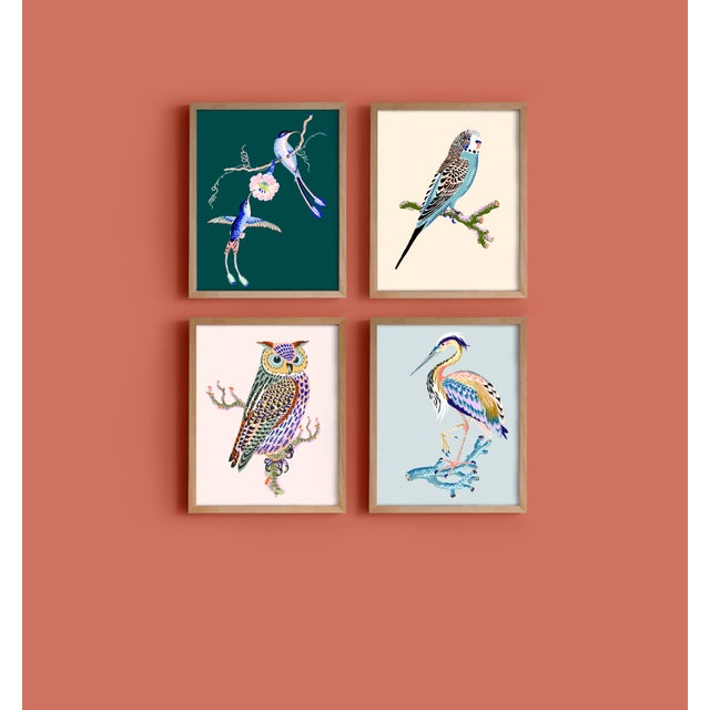 Contemporary Contemporary Hummingbird Giclée Print in Teal For Sale - Image 3 of 3