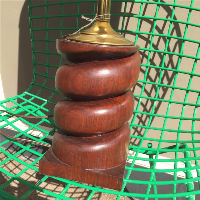 Spiral Carved Wood Table Lamp - Image 3 of 7