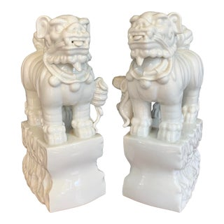 Blanc De Chine Foo Dogs - a Pair For Sale