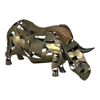 Vintage Mid-Century Brutalist Brass Copper Rhino Freestanding Sculpture For Sale