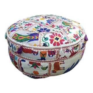 Modern Indian Embroidered Patchwork Ottoman Pouf For Sale
