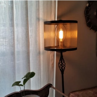 Mesh Drum Lampshade With Bronze Screen and Steel Trim Preview