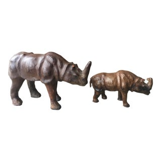 Vintage Leather Animal Sculpture-A Pair For Sale