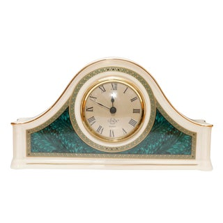 Porcelain Camel Back Mantle Clock by Lenox For Sale