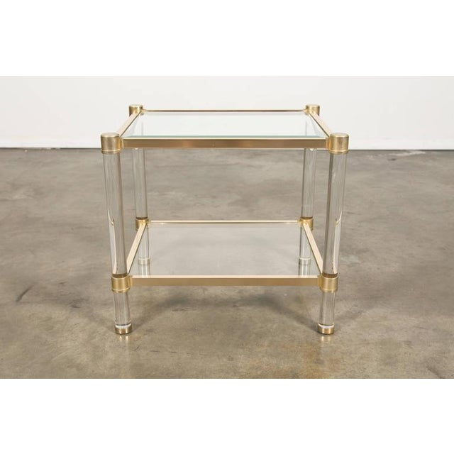 French Rectangular Lucite and Brass Two Tier Side Table For Sale - Image 11 of 12