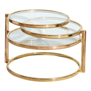 Brass Swivel Coffee Table For Sale