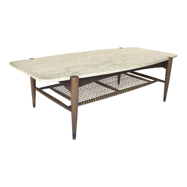 Folke Ohlsson for Dux Travertine Cocktail Table - Image 1 of 6