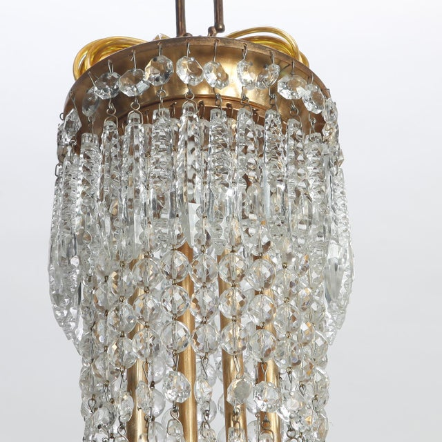 French Hand Cut Crystal and Brass Chandelier For Sale In Detroit - Image 6 of 7
