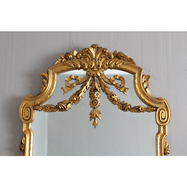 19th Century French Louis XVI Style Carved Gilt Classical Mirror For Sale In Salt Lake City - Image 6 of 7