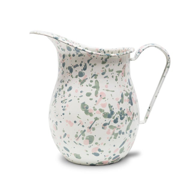 2020s Crow Canyon Home Enamelware Catalina Large Pitcher in Mint Hibiscus For Sale - Image 5 of 5