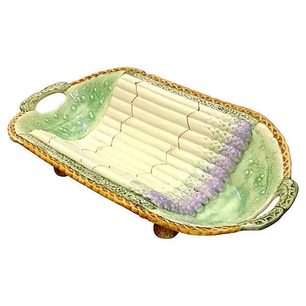 French Antique Majolica Asparagus Serving Dish For Sale - Image 3 of 6