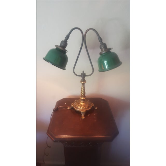 Vintage Industrial Two Arm Accent Lamp With Metal - Image 5 of 8