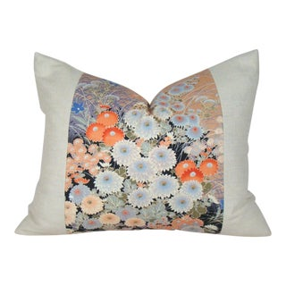 Vintage Japanese Floral Obi Lumbar Pillow Cover For Sale