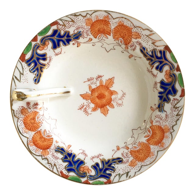 Vintage Hand Painted Candy Dish with Gold Trim For Sale