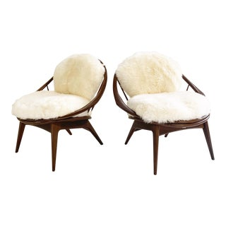 Ib Kofod-Larsen Bentwood Lounge Chairs With Brazilian Sheepskin Cushions For Sale