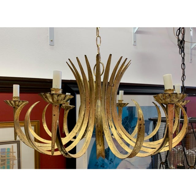 Vintage Grass Blade Gold Mid Century Italian Gilt Chandelier For Sale In Tampa - Image 6 of 11