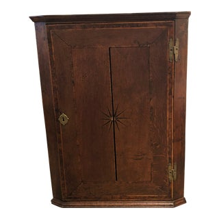 Late 18 Century English Oak Hanging Corner Cabinet For Sale
