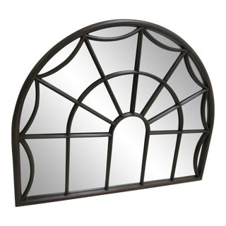 Modern Marlock Fruitwood Arch Top Window Pane Handing Wall Mirror For Sale