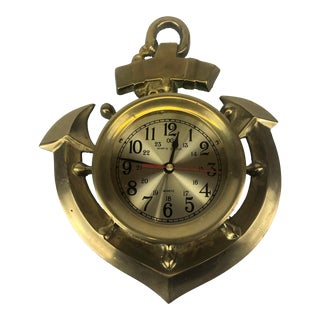 Vintage Brass Anchor Wall Clock For Sale