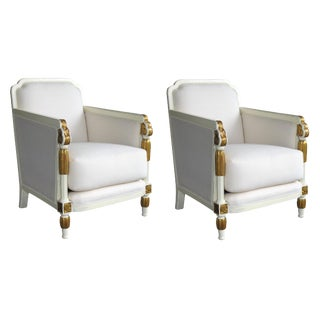 French Art Deco Ivory Lacquered and Parcel-Gilt Club Chairs-A Pair For Sale