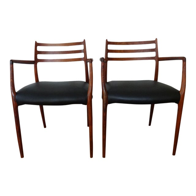 Mid 20th Century Mid Century Danish Modern Armchairs by J. L. Moller - a Pair For Sale
