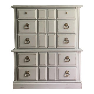 Vintage Distressed Dove Gray Dresser
