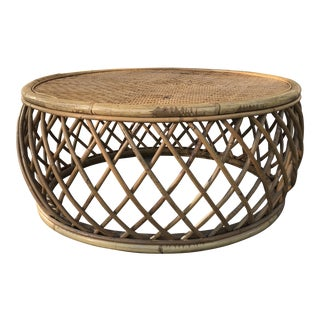 Vintage Rattan & Cane Coffee Table For Sale