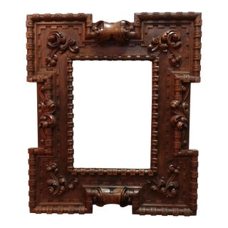 18th Century Carved Wooden Framed Mirror For Sale