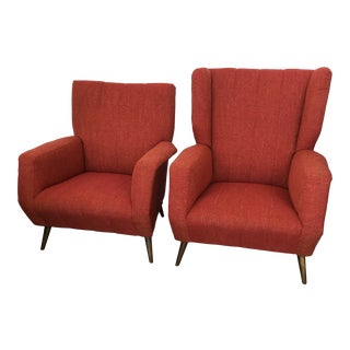 Vintage Mid Century Italian His & Her Chairs - a Pair For Sale