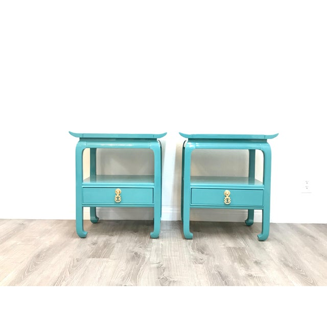 Kent Coffey Turquoise Lacquered End Tables - A Pair For Sale - Image 12 of 12