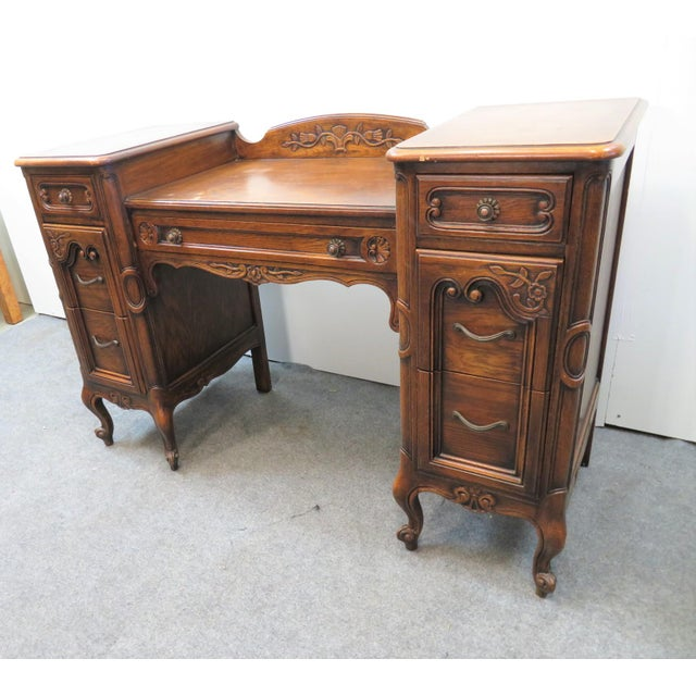 French Louis XV Style Carved Oak Vanity For Sale - Image 3 of 11