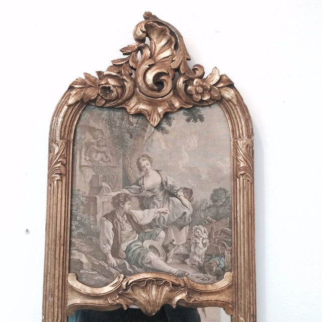 Italian Gilded Long Mirror For Sale - Image 3 of 6