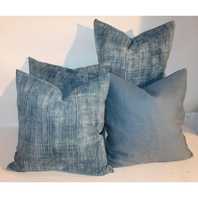 Textile 19th Century Blue Homespun Linen Pillows - a Pair For Sale - Image 7 of 10