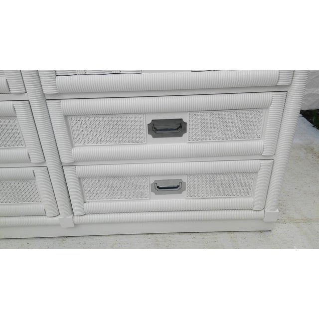 White Dixie Lacquered Campaign Wicker Weve Dresser For Sale - Image 8 of 10
