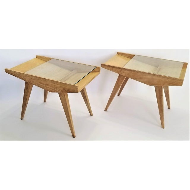 Pair End Tables or Nightstands Magazine Style -1950s Vintage Blond Wood and Glass - Mid Century Modern Minimalist Sleek For Sale - Image 13 of 13