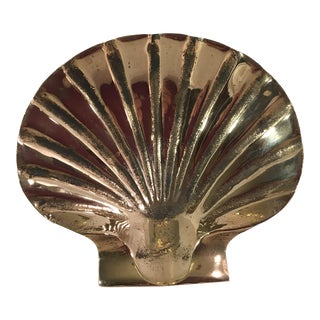 Mid-Century Modern Brass Clam Shell Dish For Sale