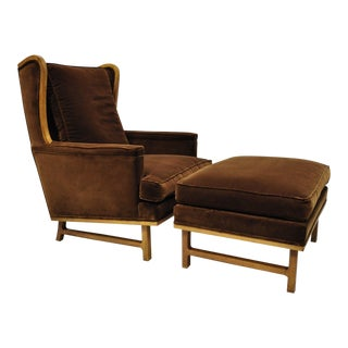 Edward Wormley Style Mid-Century Brown Mohair Wingback Lounge Chair & Ottoman For Sale
