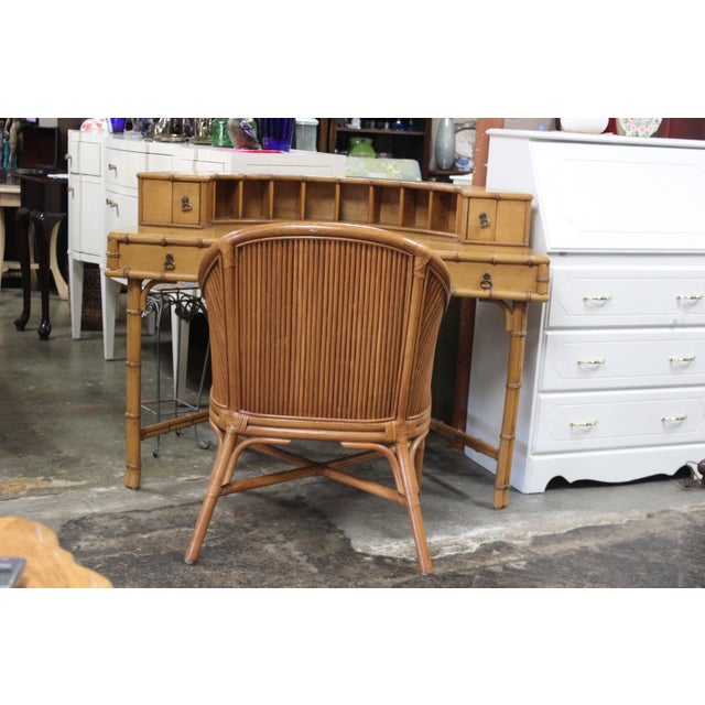 Ficks Reed Writing Desk & Chair - a Pair For Sale - Image 9 of 11
