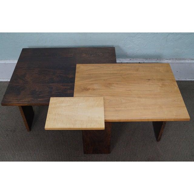 Jeffrey Greene Studio Mixed Wood Geometric Coffee Table For Sale - Image 5 of 10