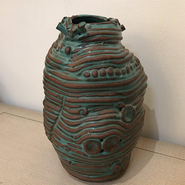 Turquoise Coiled Ceramic Vase - Image 2 of 9