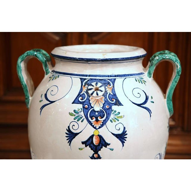 1940s French Ceramic Hand-Painted Vase For Sale - Image 5 of 9