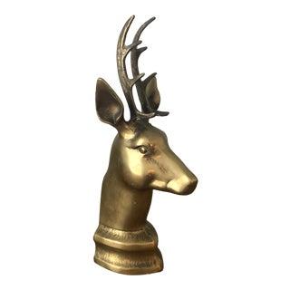 Vintage Solid Brass Buck Head Figurine For Sale
