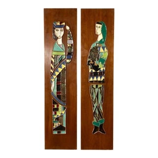 Mid-Century Modern Enameled Artworks on Walnut Panels by Harris Strong - a Pair For Sale