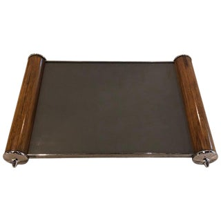 Art Deco Period Rosewood and Chrome Mirror Top Serving Tray For Sale