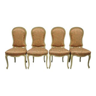 Vintage Italian Provincial French Hollywood Regency Upholstered Dining Side Chairs- Set of 4 For Sale