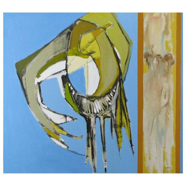 Canvas Colorful Blue, Taupe & Gold Abstract Oil Painting On Canvas For Sale - Image 7 of 7
