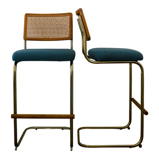 Cane, Brass and Teal Upholstered Cantilever Barstools - A Pair For Sale