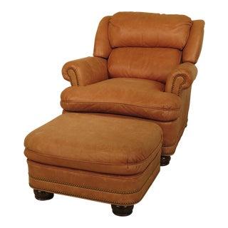 Hancock & Moore Tan Leather Chair & Ottoman